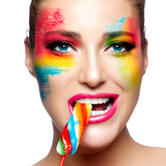 Fantasy Makeup. Painted Face. Lollipop