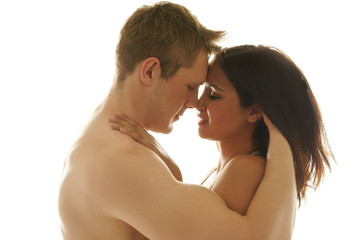 Loving couple tenderly embracing