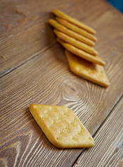 crackers on  wood table