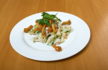 Fresh green salad with mushrooms,