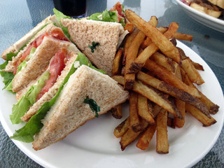 Clubhouse Sandwich and French Fries