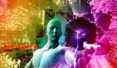 man choosing atom energy