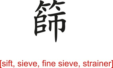 Chinese Sign for sift, sieve, fine sieve, strainer