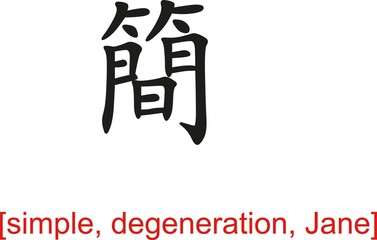 Chinese Sign for simple, degeneration, Jane