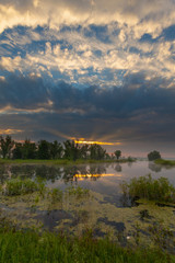 Amazingly beautiful sunrise over Lake, foggy
