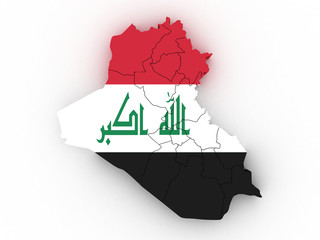 3d Iraq administrative map with flag