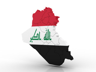 3d Map of Iraq with flag