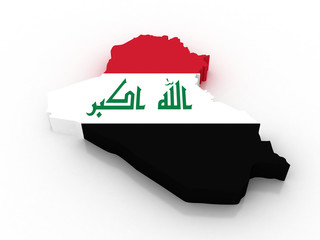 3D map of Iraq filled with flag of the state