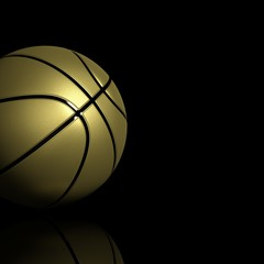 Golden basketball isolated on black with copy-space