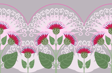 Seamless border with burdock flowers