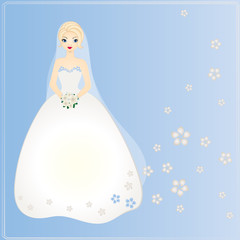 Bride on blue background. Vector card for wedding.