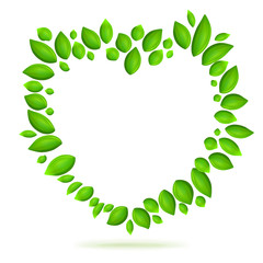 Green heart shape with leaves