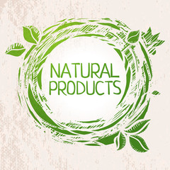 Natural products green colored label