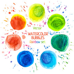 Rainbow watercolor vector circle