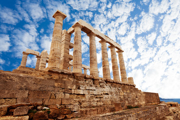Temple of Poseidon, Athens, on Mediterranean sea