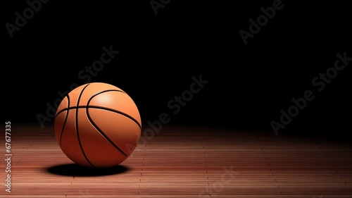 Basketball court floor with ball  - 67677335