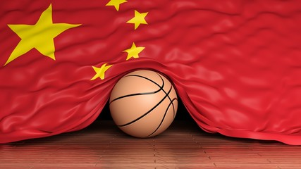 Basketball ball with flag of China on parquet floor