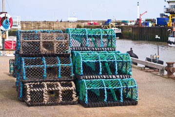 Fishing creels at a harbour