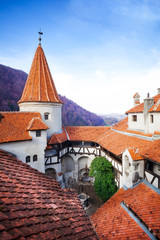 Roofs of Dracula Castle in inner yard, Romania