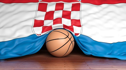 Basketball ball with flag of Croatia on parquet floor