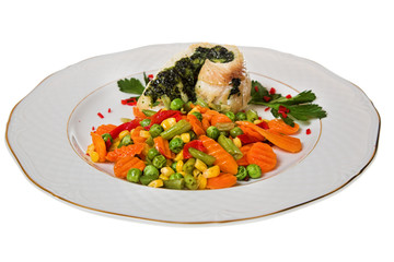 fried fish with vegetable