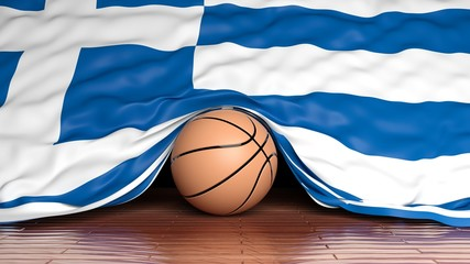Basketball ball with flag of Greece on parquet floor