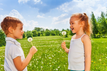 Two kids with dandelions