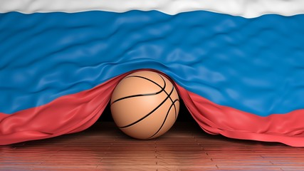 Basketball ball with flag of Russia on parquet floor