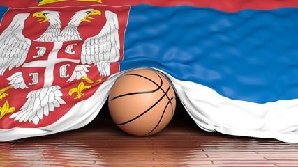 Basketball ball with flag of Serbia on parquet floor