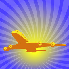 Plane taking off on a background of blue sky and bright sun.
