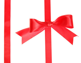 Two red ribbons with bow