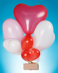 Heart shaped balloons and gift