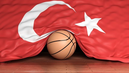 Basketball ball with flag of Turkey on parquet floor