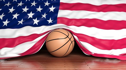 Basketball ball with flag of USA on parquet floor
