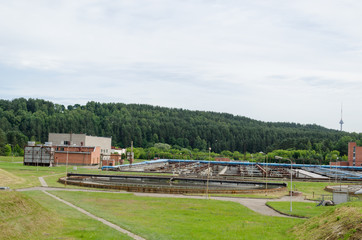 city sewage water treatment plant reservoir pools