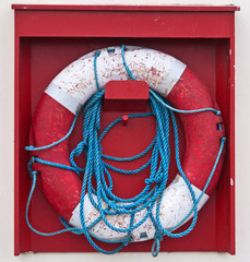 Life buoy on a wood background