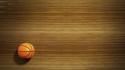 Basketball court parquet floor with classic ball