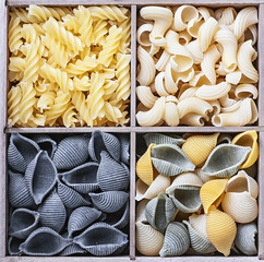 pasta assortment of different colors background