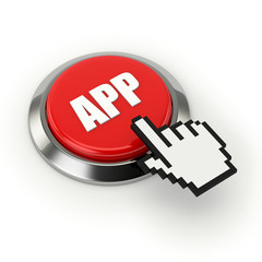 Red app button with metallic border