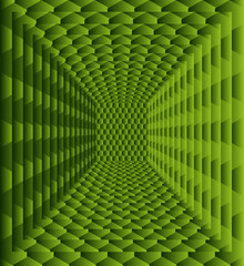 Green background with abstract  hexagons