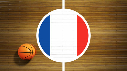 Basketball court parquet floor center with flag of France