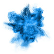 canvas print picture - blue powder explosion isolated on white