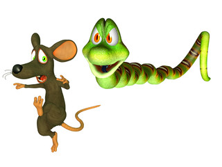 A prey and a predator, Cartoon snakewith  a mouse