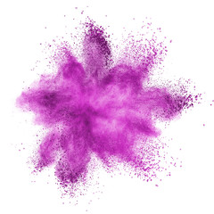 Pink powder explosion isolated on white