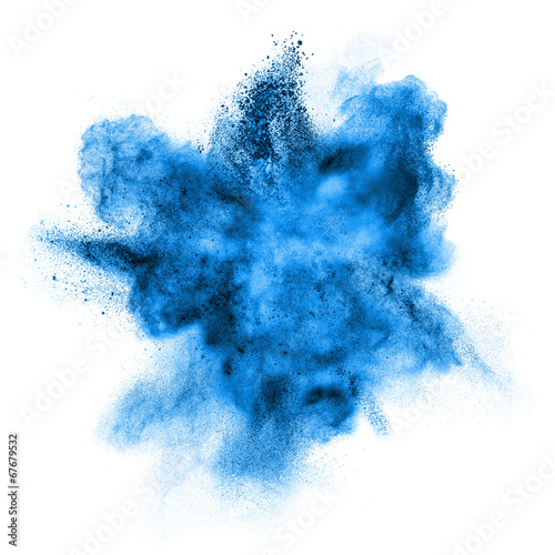 canvas print picture blue powder explosion isolated on white