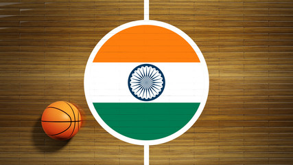 Basketball court parquet floor center with flag of India