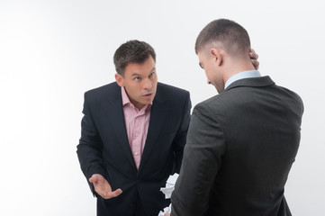 Boss angry with young employee