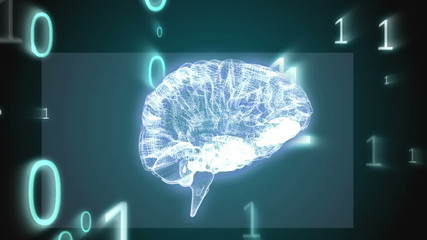 Revolving brain graphic with binary code animation