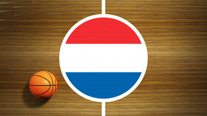 Basketball court parquet floor center with flag of Netherlands