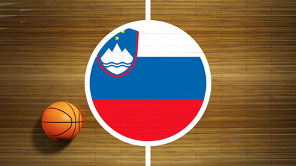 Basketball court parquet floor center with flag of Slovenia